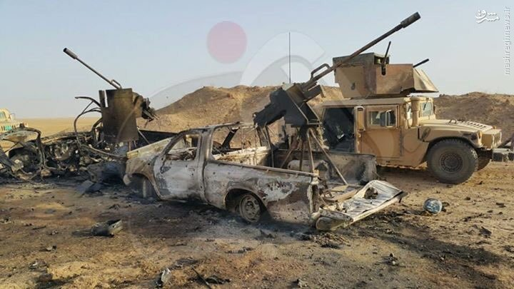 انهدام کاروان صد خودرویی داعش در الانبار+عکس