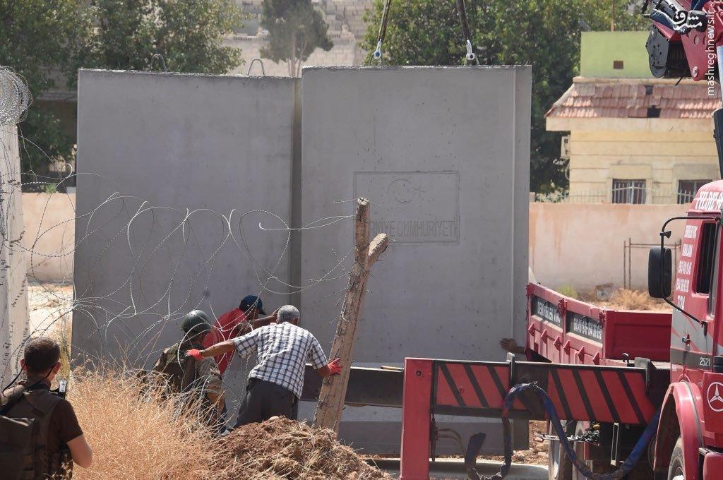 ساخت دیوار حائل در مرز ترکیه با مناطق کردنشین سوریه+عکس
