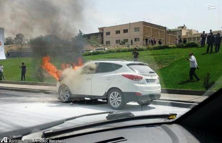 عکس/ آتش گرفتن هیوندای توسان در تهران