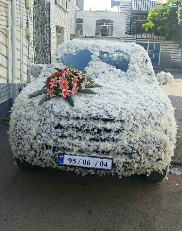عکس/ تزئین خاص ماشین عروس با پر مرغ