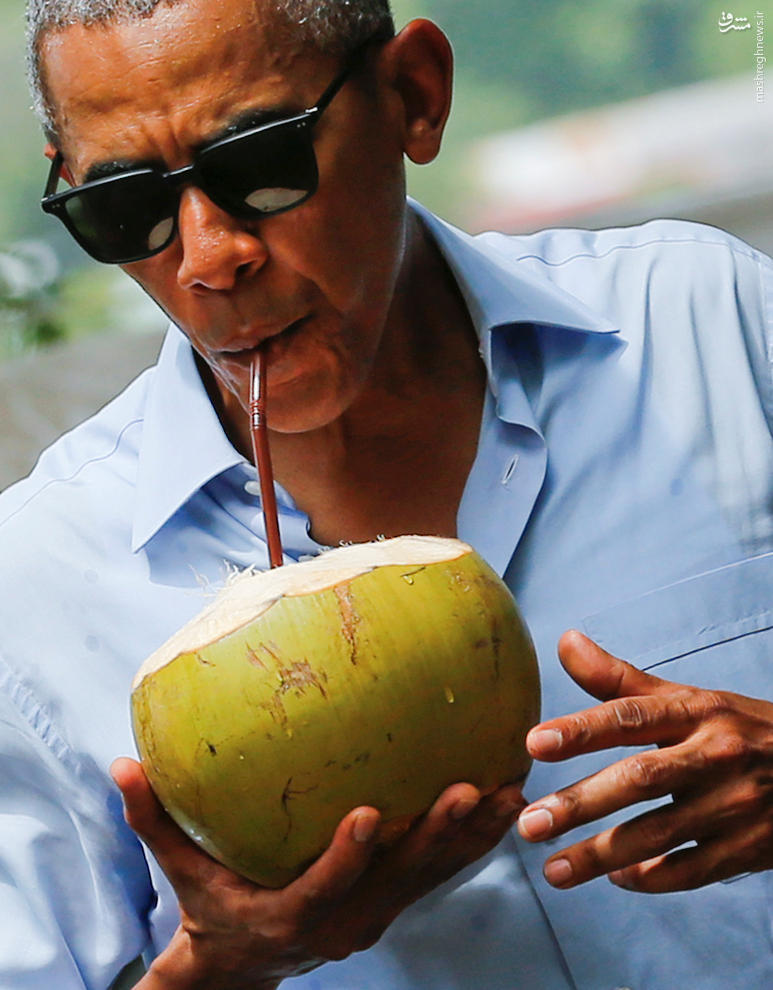 عکس/ نارگیل خوری اوباما در لائوس