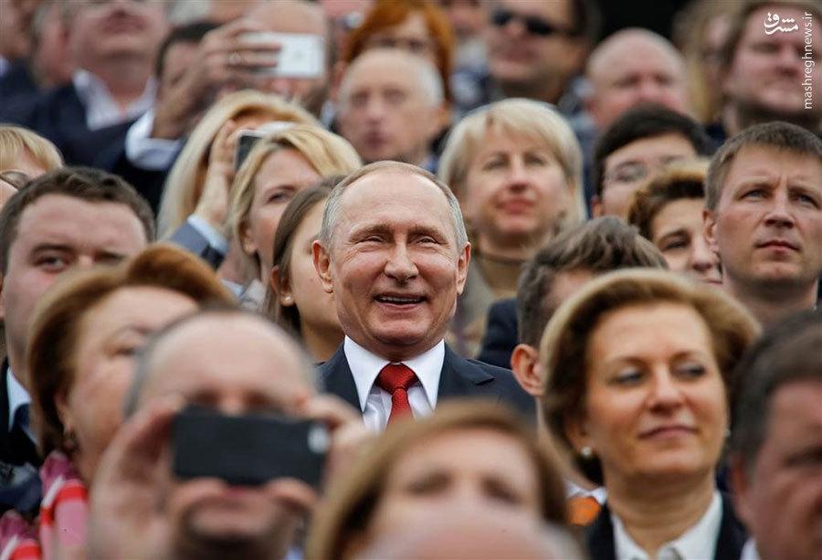 خوشحالی جالب پوتین در جشن روز شهر