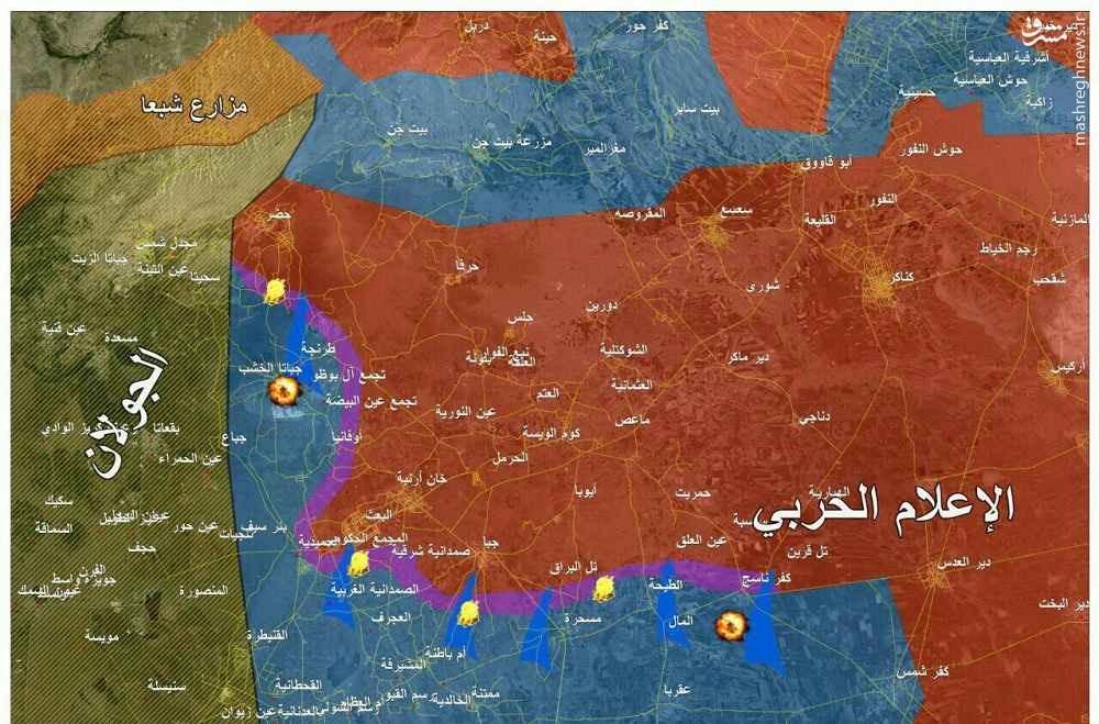بمباران ارتش سوریه توسط آمریکا و اسراییل +نقشه