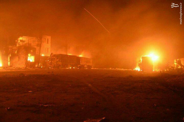 انهدام کاروان بزرگ نیرو و تسلیات القاعده در حلب+عکس و فیلم