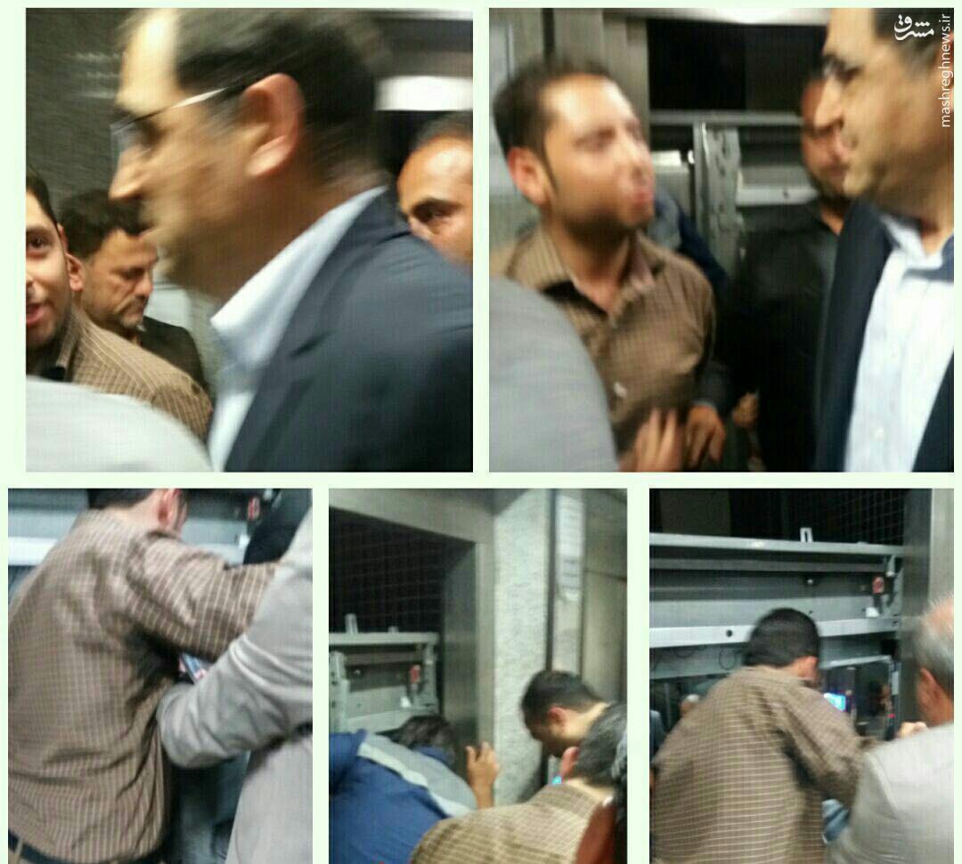 عکس/ وقتی آقای وزیر در آسانسور گیر میکند