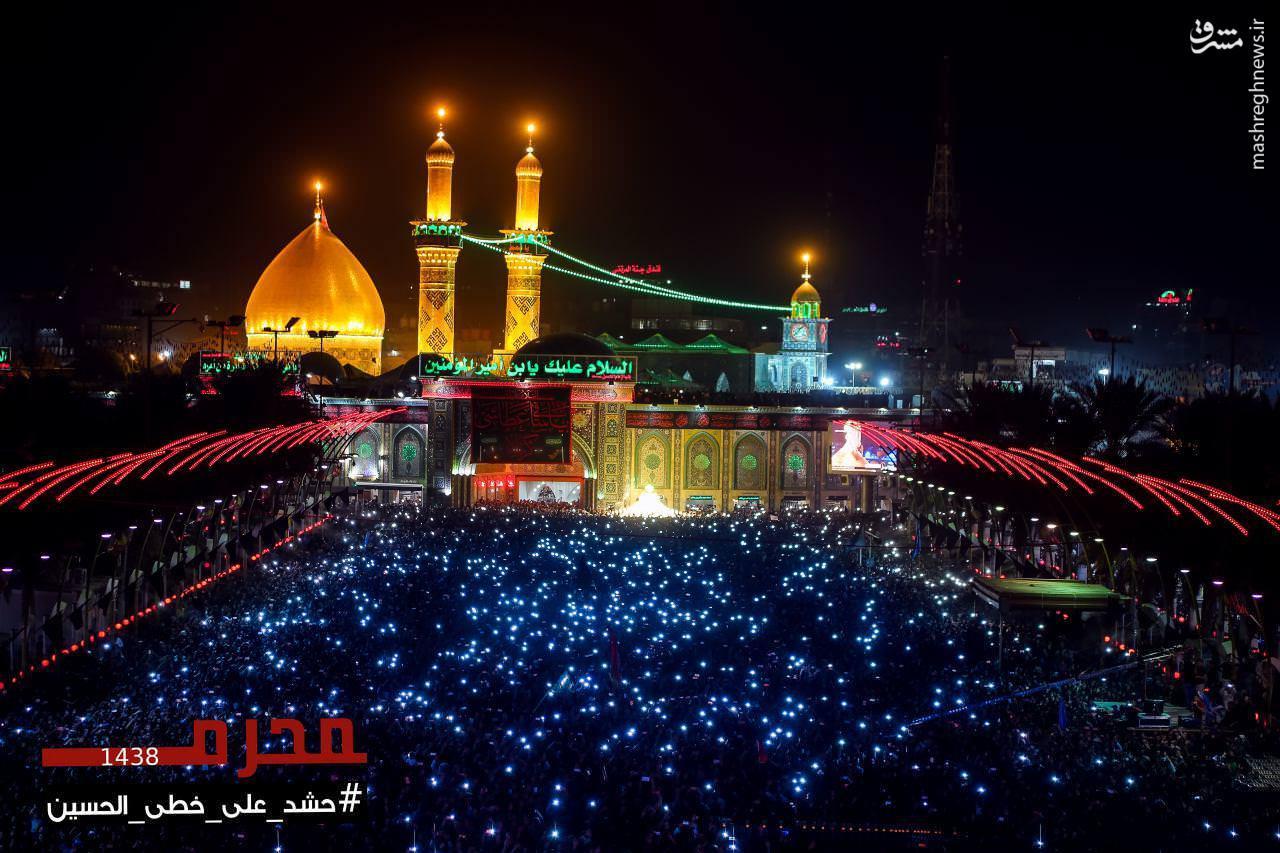 عکس گنبد امام حسین در شب