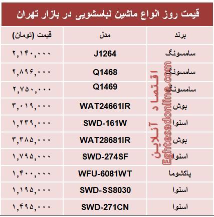 جدول/ قیمت پرفروشترین انواع ماشین لباسشویی