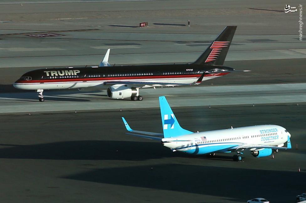 عکس/ تقابل هواپیماهای شخصی کلینتون و ترامپ