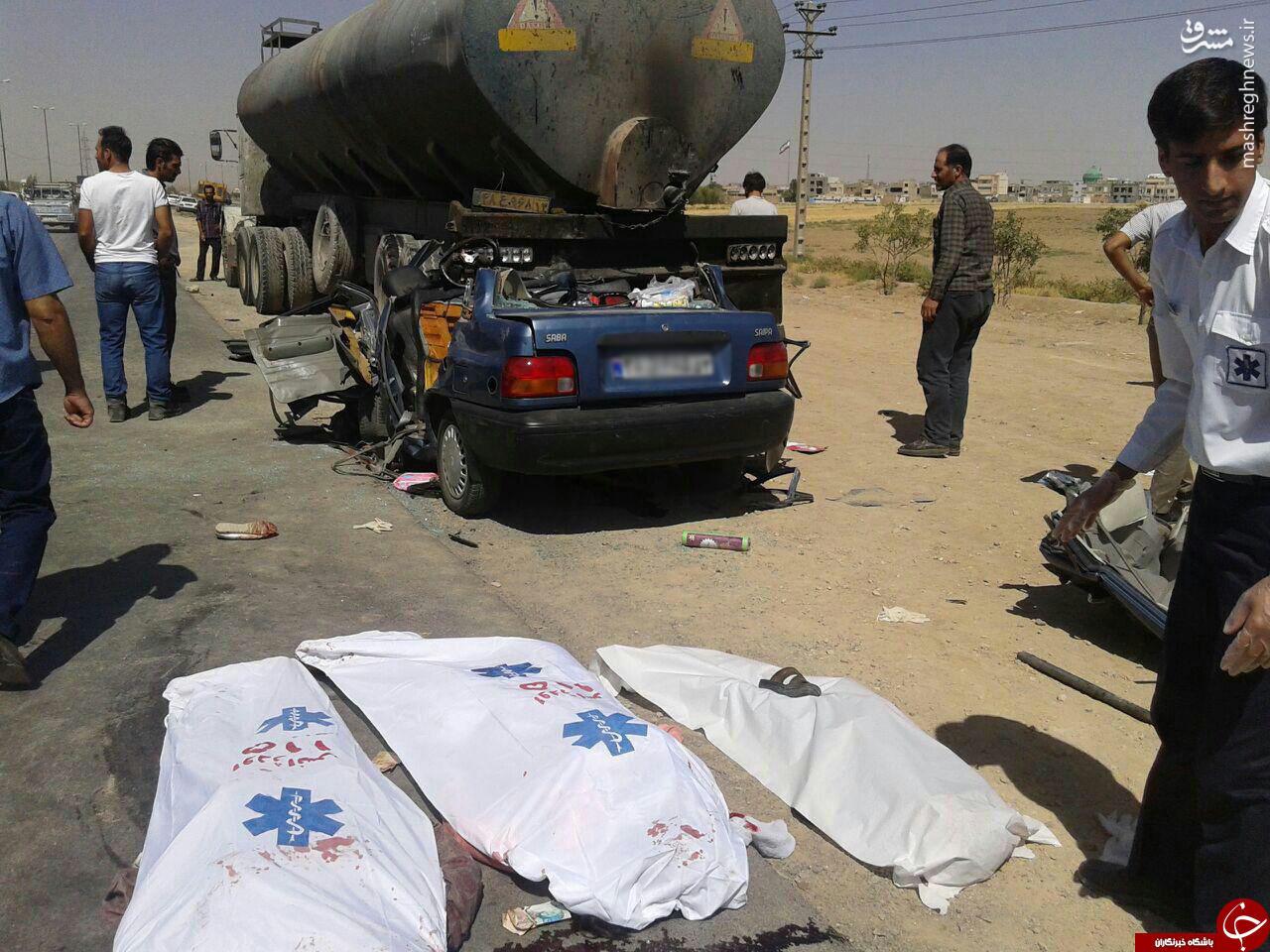 عکس/ 3 کشته در برخورد دلخراش پراید با تریلر نفت کش