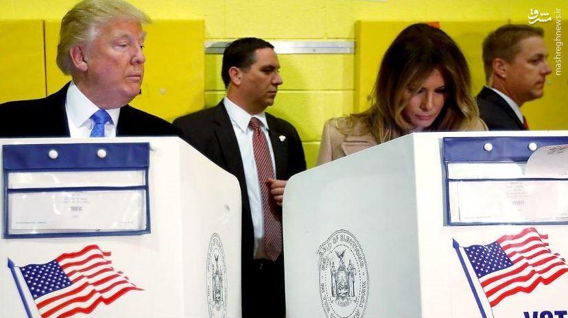 عکس/ ترامپ و همسرش در پای باجه رای