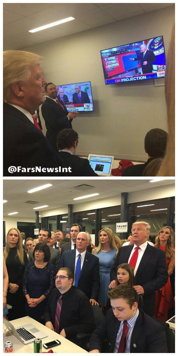 عکس/ ترامپ و خانوادهاش در حال تماشای روند اعلام نتایج انتخابات