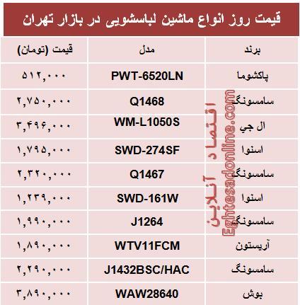 جدول/ قیمت انواع ماشینلباسشویی در بازار