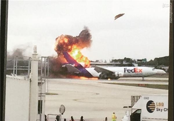 آتش گرفتن دومین هواپیمای آمریکایی طی چند ساعت +عکس