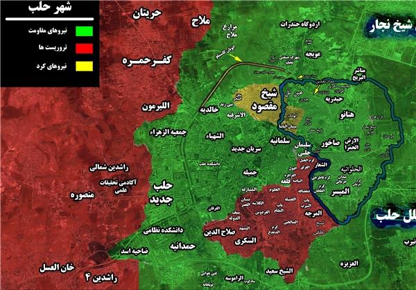 چقدر از مساحت حلب آزاد شده است؟ +نقشه