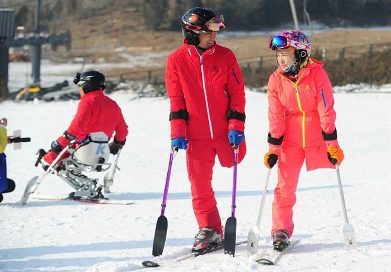 عکس/ اولین پیست اسکی مخصوص معلولان در چین