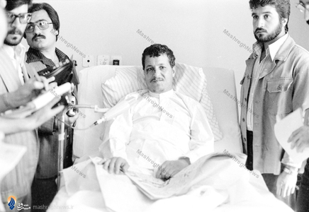 نمایی از کنفرانس خبری هاشمی رفسنجانی در بیمارستان شهدای تجریش