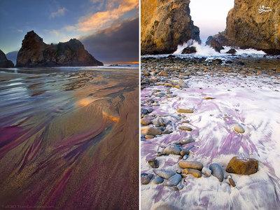 شن های بنفش این ساحل در کالیفرنیا زمانی تشکیل شدند که منگنز موجود در تپه های اطراف این ساحل شسته شدن و به دریا ریختن.