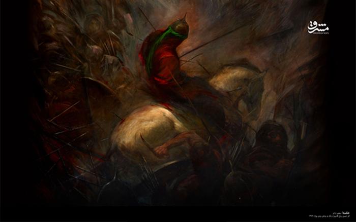 علقمه؛ اثر حسن روح الامین - نقاشی رنگ روغن