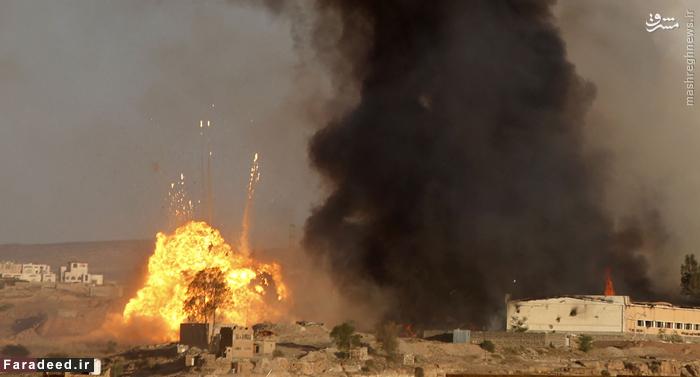انفجار پس از شلیک جنگنده عربستانی در صنعا. 11 سپتامبر