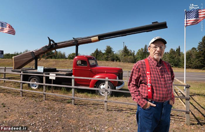 بزرگترین تفنگ گلوله زنی جهان که کار هم می کند دارای ۱۰٫۱۸ متر دراز می باشد که متعلق به آقای جیمز ای دی کین می باشد.