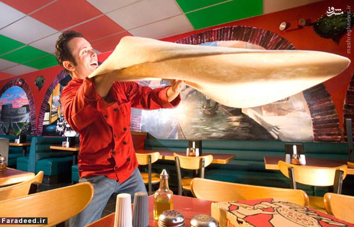 تونی جمیجنانی توانست ۵۰۰ گرم خمیر پیتزار را به مدت دو دقیقه بچرخاند.پهنای این خمیر ۸۳ سانتی متر اندازه گیری شد. وی این کار را در مرکز خرید آمریکا در مینیاپولیس، مینه سوتا در خلال یک فیلم برداری رکوردهای جهانی گینس برای کانال جهانی خوراک در ۲۰ آپریل ۲۰۰۶ انجام داد.
