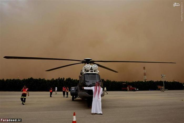 توفان شن در پایگاه هوایی عربستان در ریاض