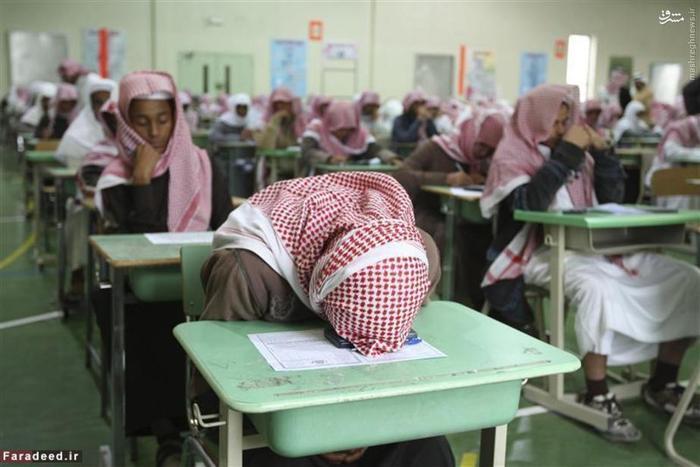نمایی از داخل یک دبیرستان در ایام امتحانات در شهر ریاض