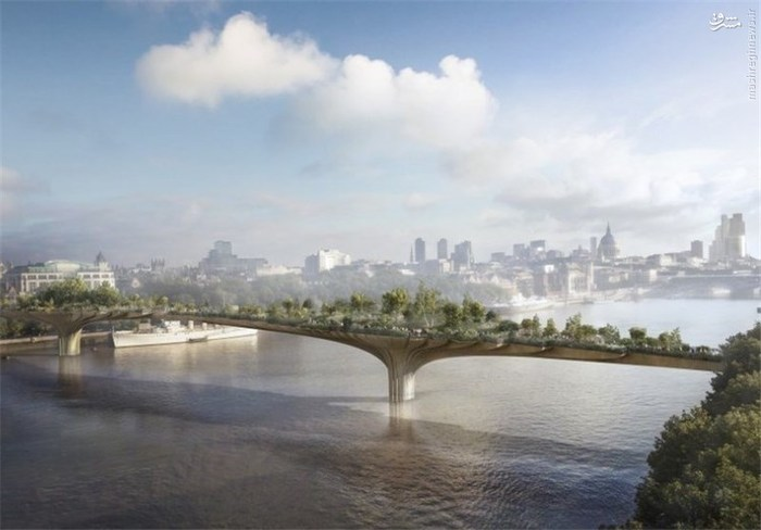 «گاردن بریج» (Garden Bridge) بر روی «رودخانه تایمز» در لندن