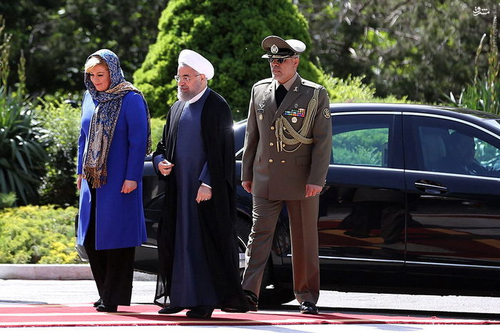 تصاویر: مراسم استقبال حسن روحانی از رئیس جمهور کرواسی