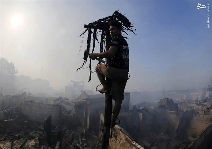 تخریب 800 خانه و آوارگی دستکم 1000 خانواده بر اثر آتشسوزی گسترده در مانیل فیلیپین