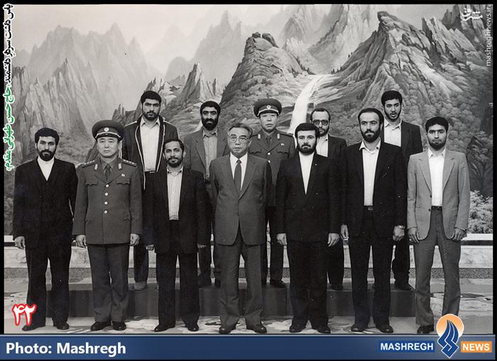 حسن طهرانی مقدم (ردیف اول- نفر اول از راست)- سفر هیات نظامی ایران به «کره شمالی» - شهید «حاج حسن شفیع» زاده نیز در عکس دیده می شود