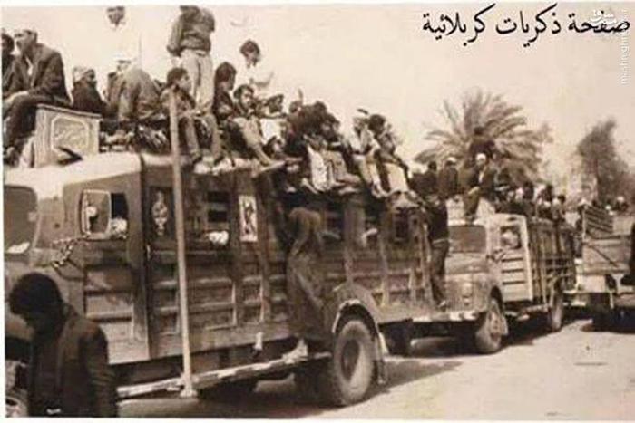 کامیون های ولوو در حال انتقال زائران حسینی بین دو  دهه 60 و هفتاد قرن بیست