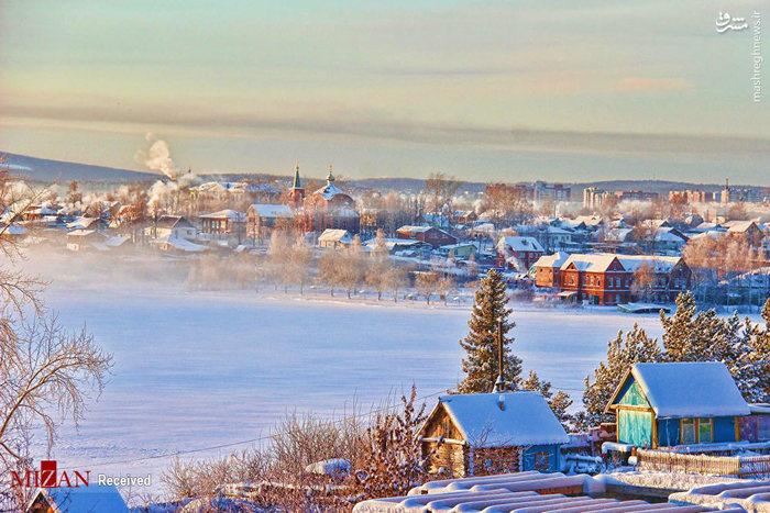 عکس طبیعت برفی و زمستان در یک شهر روسیه