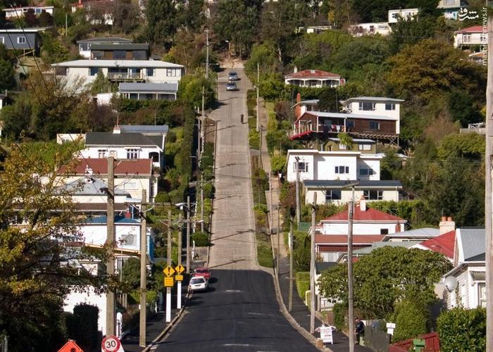 عکس پر شیب ترین خیابان جهان در نیوزیلند