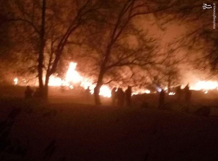 اولین تصاویر از سقوط هواپیما در قرقیزستان با ۱۵ کشته
