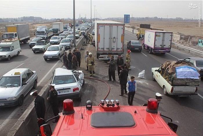 عکس تصادف حوادث تهران اتوبان تهران ساوه