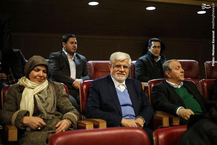 حضور محمدرضا عارف و همسرش در اکران فیلم سینمایی
