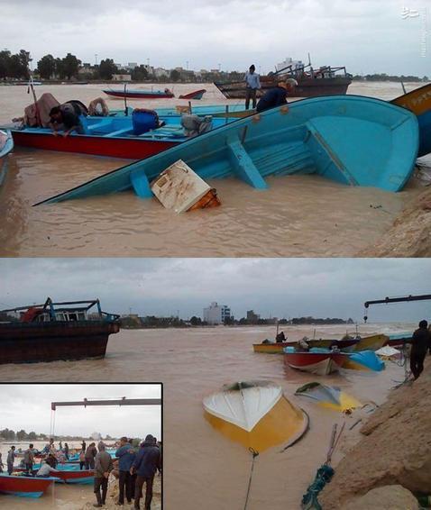 غرق شدن 20 قایق در ساحل بندر دیر