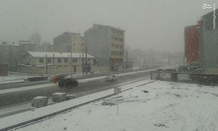 بارش شدید برف در رشت