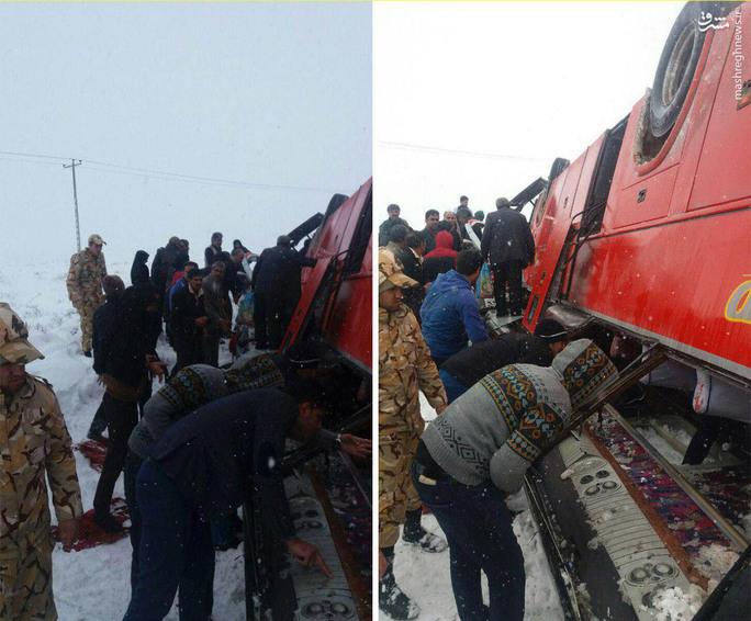 عکس/ تصادف اتوبوس بیرجند مشهد