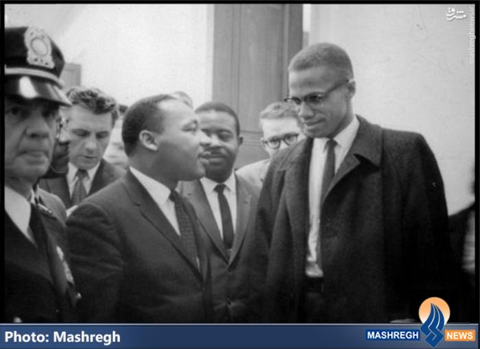 شهید «مالکوم ایکس» در کنار «مارتین لوتر کینگ»