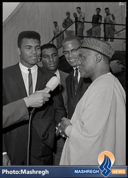 شهید «مالکوم ایکس» و مرحوم «محمدعلی کلی» و سفیر وقت «نیجریه» در «ایالات متحده»