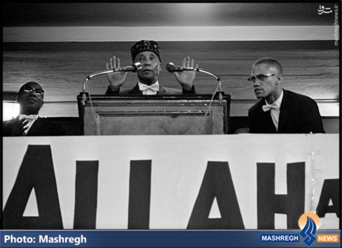 شهید «مالکوم ایکس» و «عالیجاه محمد» در سال های نخستین فعالیت در گروه «ملت اسلام»