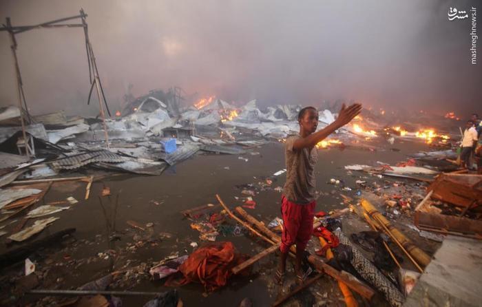 آتش سوزی بازار باکارا در موگادیشو پایتخت سومالی + تصاویر