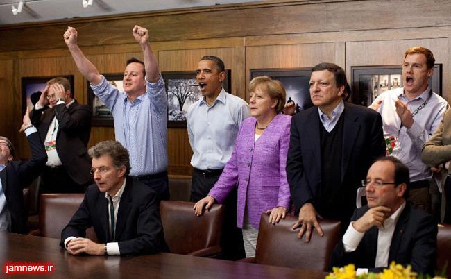 عکس / سران گروه ۸ در حال تماشای فوتبال