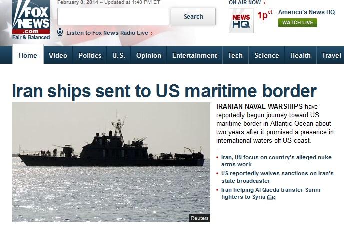 حرکت ناو جنگی ایران به سمت امریکا تیتر یک فاکس نیوز
