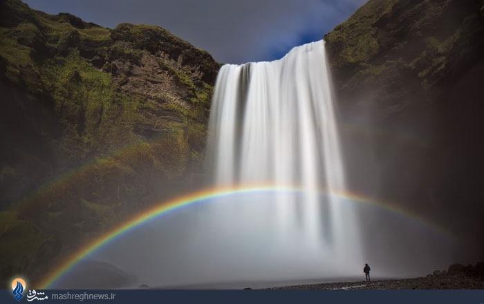 عکس/ تلفیق زیبای آبشار و رنگین کمان