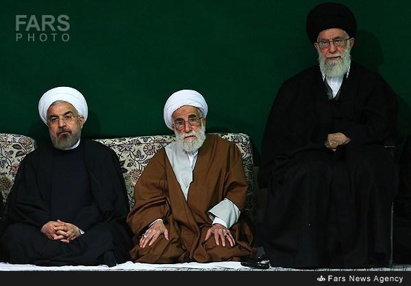 عکس/ حسن روحانی در عزاداری بیت رهبری