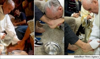 پاپ، پاهای یک مسلمان را بوسید+عکس