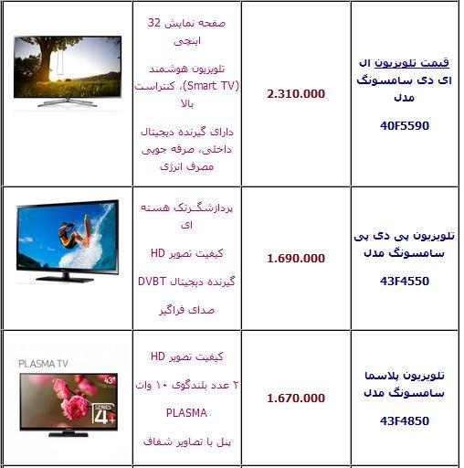 قیمت های تلویزیون سامسونگ